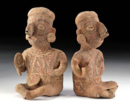 Matched Pair Nayarit Ixtlan Del Rio Polychrome Figures