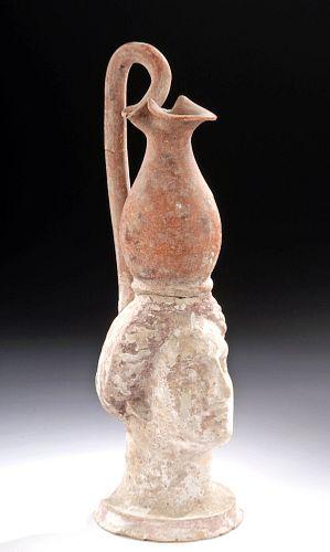 Greek Canosan Polychrome Oinochoe w/ Female Head