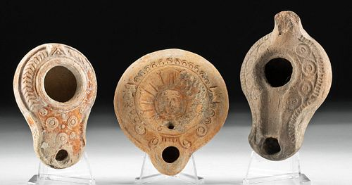 Lot of 3 Roman Pottery Oil Lamps