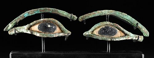 Egyptian Copper Alloy & Limestone Eyes from Sarcophagus