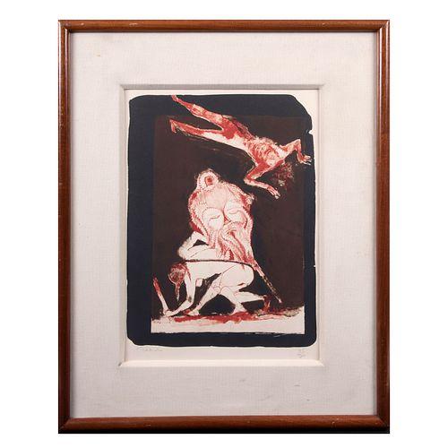 FRANCISCO TOLEDO. Muerte Roja. Litografía, 35 / 70, Enmarcado. 45 x 32 cm