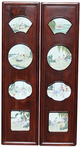 (2) Chinese Hardwood/Famille Rose Plaques, Signed