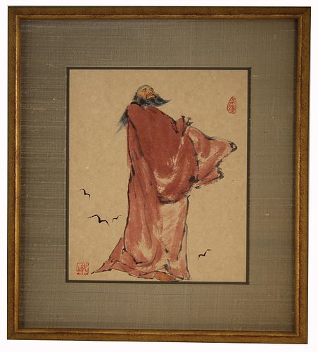 Chinese School, Signed Qing Dynasty Watercolor/Ink