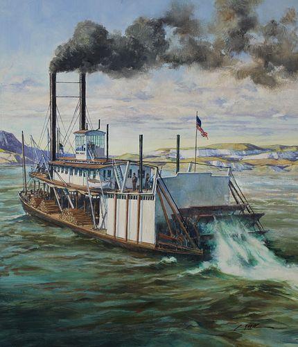 "Dennis Lyall (B. 1946) ""Far West Riverboat"""