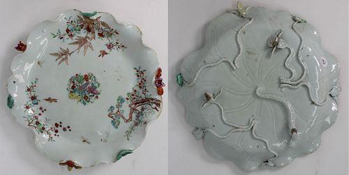 Rare 18th C. Chinese Famille Rose Lotus Dish