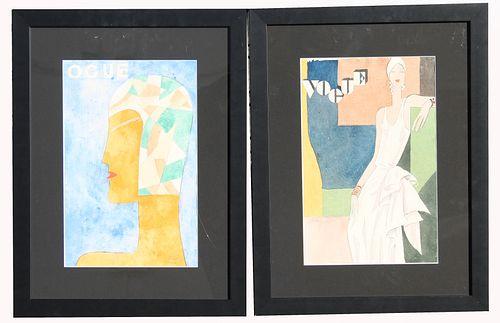 """(2) Art Deco """"Vogue"""" Watercolors, Olivia"""