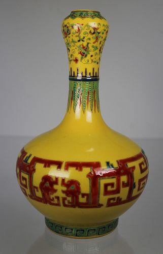 Chinese Famille Juane Garlic Mouth Vase, Marked