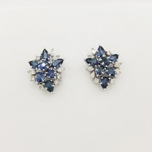 14K White Gold Sapphire & Diamond Earrings
