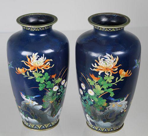 (2) Vintage Cloisonne Vases (as is)