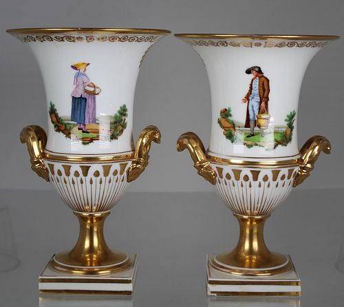 (2) Antique French Hand Painted Urns (as is)