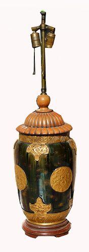 Chinese, Glazed Terracotta Lamp