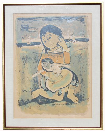 Signed, 4/75 Lithograph of Young Child