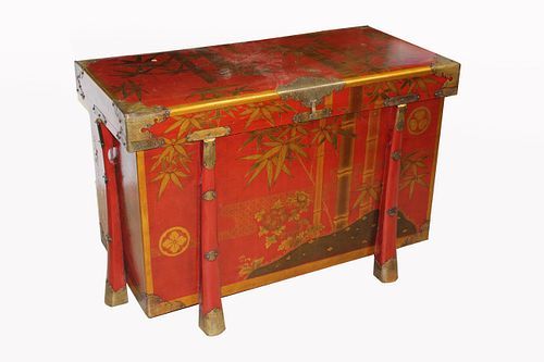 Japanese Red/Lacquered Chest