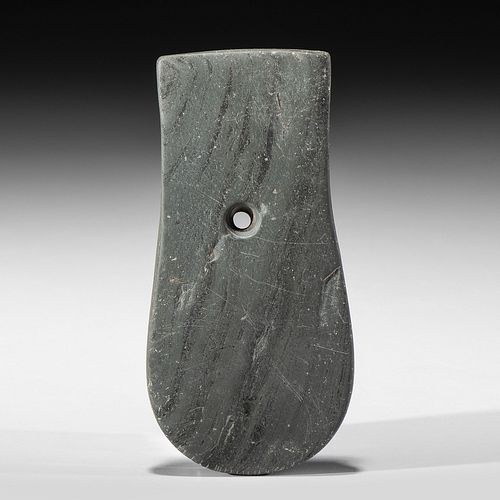 A Patinated Banded Slate Keyhole Pendant, 4-5/8 in.