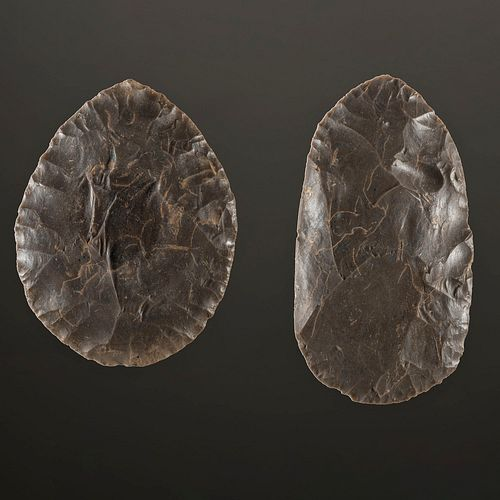 A Pair of Hornstone Cache Blades, Largest 5 in.