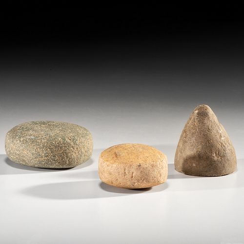 A Hardstone Cone and Two Game Stones, Largest 2-3/4 in.