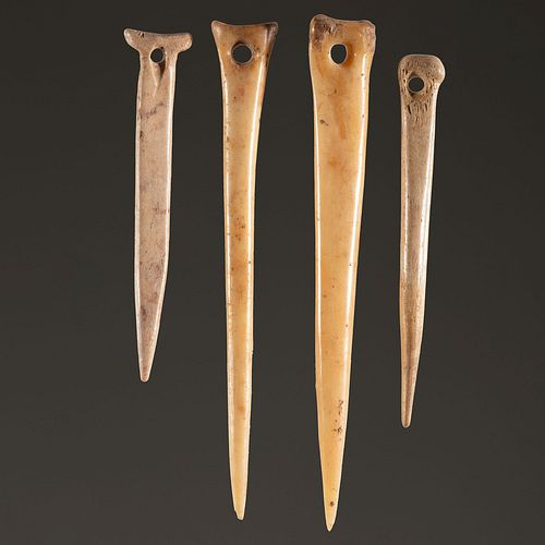 A Group of Four Bone Needles, Largest 4-1/2 in.
