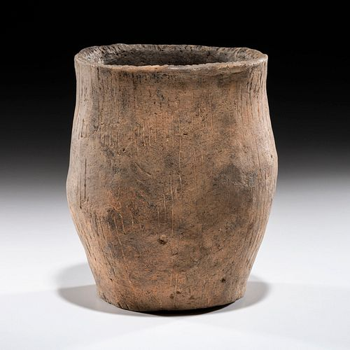 An Incised Hopewell Pottery Jar, 6-1/2 x 5-1/2 in.