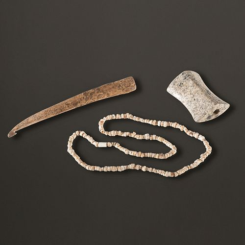 A Quartz Saddle Bannerstone, Antler Atlatl Hook, and Shell Bead Set, Longest 7-1/2 in.