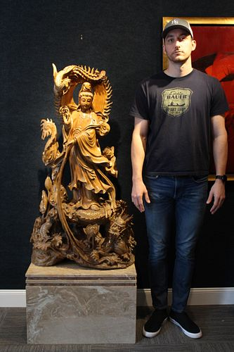 Large Chinese Carved Wood Guanyin Figure