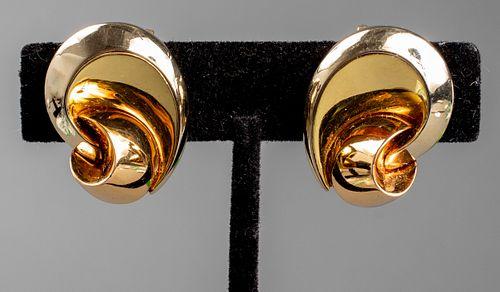 Vintage Marina B 18K Tri-Gold Free Form Earrings