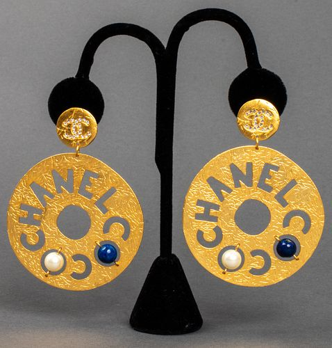 Chanel Gold Tone And Faux Gemstone Earrings
