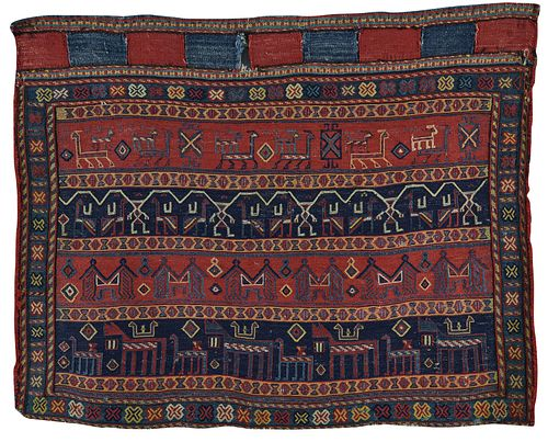 Luri Bag Front, Persia, mid 19th century; 3 ft. x 2 ft. 6 in.