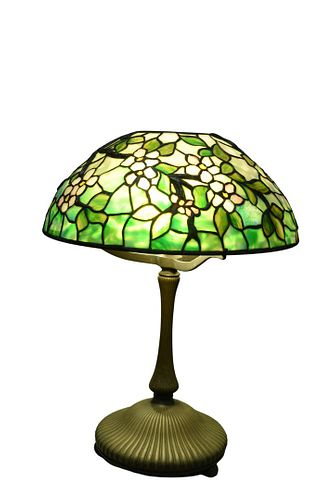 Tiffany Studios Apple Blossom Leaded Glass Table Lampshade having rare raised branches, flowers with pink petals, and yellow centerheight 21 1/2 inc