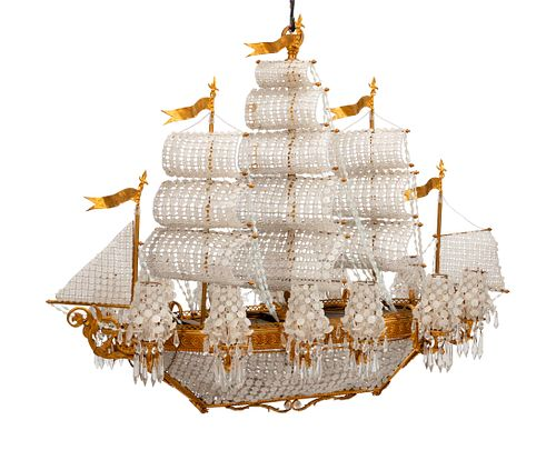 "A Louis XVI Style Gilt Bronze and Cut Glass ""Ship"" Chandelier"