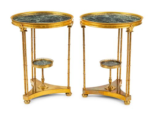 A Pair of Louis XVI Style Gilt Bronze and Marble Tables After the Model by Adam Weisweiler