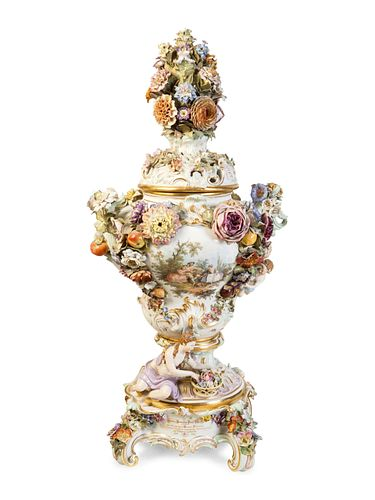 A Meissen Porcelain Potpourri Urn, Cover and Stand