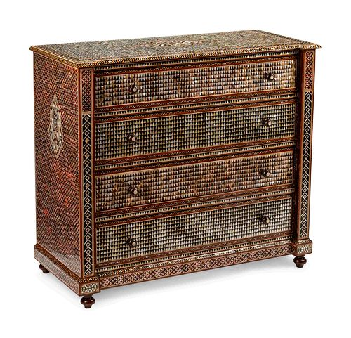 A Moorish Style Mother-of-Pearl Inlaid Chest of Drawers
