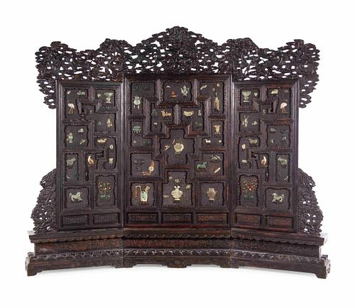 A Large Chinese Export Hardstone Inset Carved Hardwood Screen