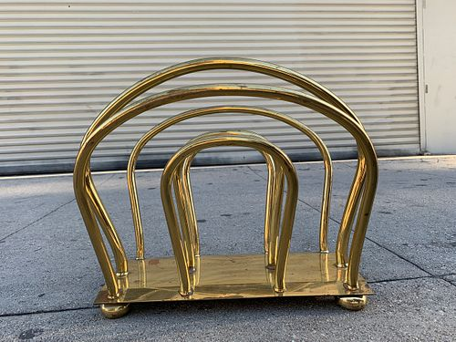 Vintage Brass Magazine Rack in the Dorothy Thorpe Style
