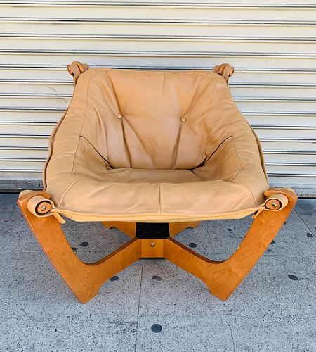 'Luna' Chair by Odd Knutsen in Tan Leather