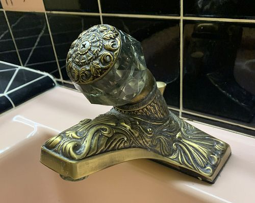 Art Deco Sink Faucet in Solid Brass and Glass
