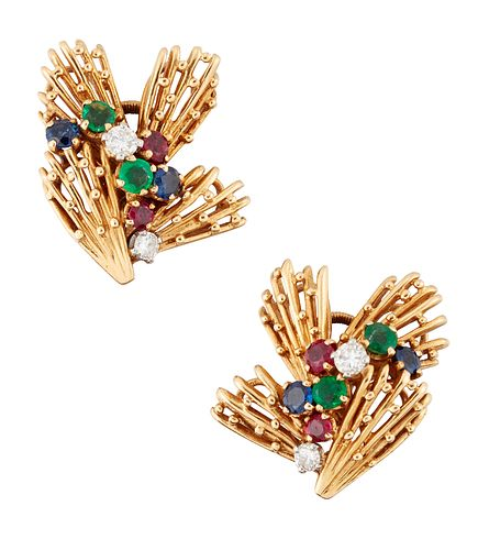 A PAIR OF 18CT GOLD DIAMOND, EMERALD, SAPPHIRE AND RUBY CLI