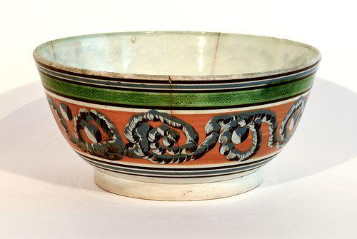 Large Mocha Bowl with Earthworm Decoration