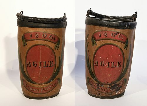 Pair of Early Fire Buckets with Original Paint