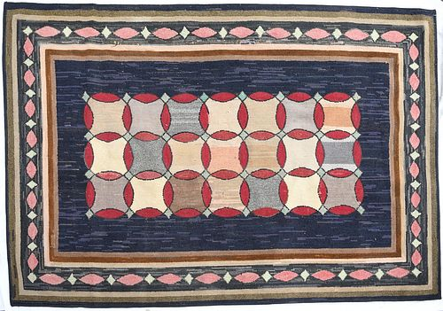 Large Graphic Hooked Rug