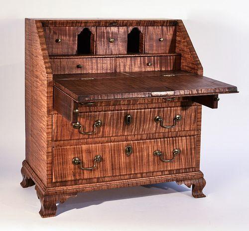 Miniature Antique Tiger Maple Slant Front Desk