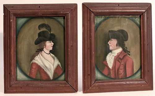 Fine Pair of early Colonial Portraits