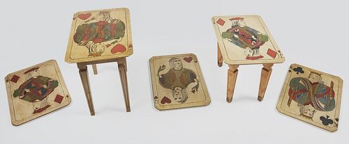 Three Suit of Card Plaques with Matching Tables