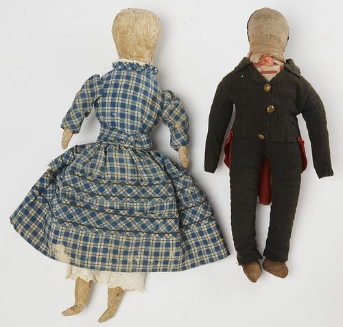 Two Early Rag Dolls