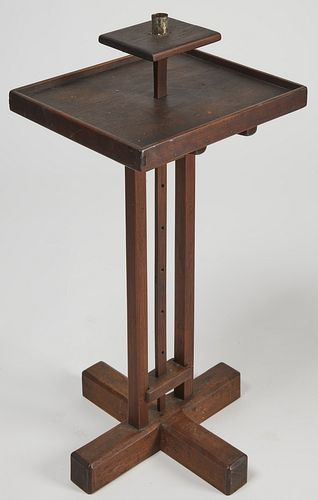 Early Wooden Cross- Base Adjustable Lighting Stand