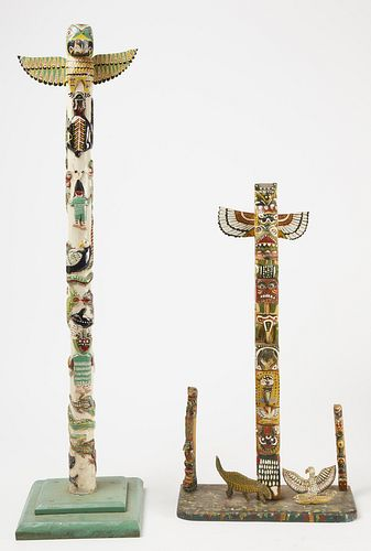 Two Native Folk Art Totems