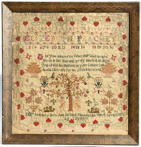 Needlework Adam and Eve Sampler-1818