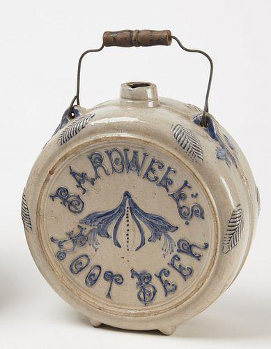 Barwell's Root Beer Stoneware Advertising Cask