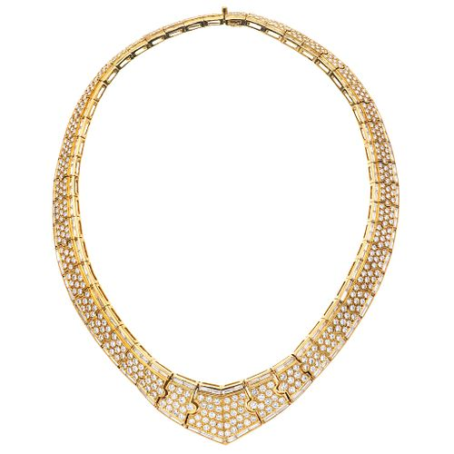 """CHOKER WITH DIAMONDS IN 18K YELLOW GOLD, Box clasp and pressure safety, Weight: 97.6 g, Length: 13.7"""" (35.0 cm)"""