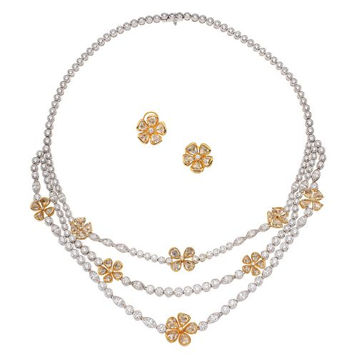 SET OF CHOKER AND STUDS WITH DIAMONDS IN WHITE AND YELLOW 18K GOLD